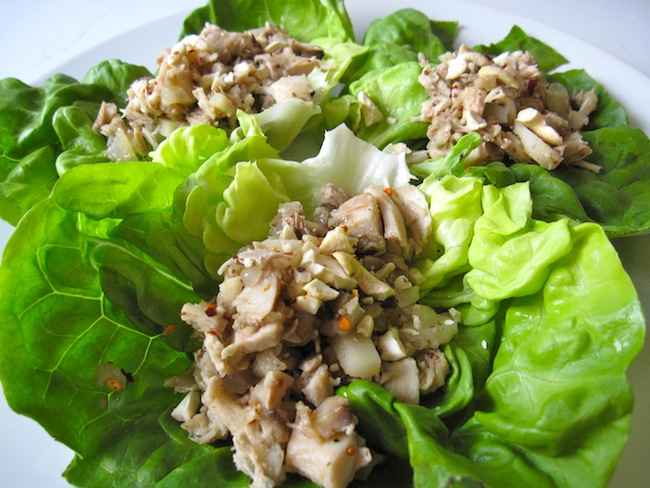 Chicken Lettuce Wraps with Halle's Sweet and Sour Sauce