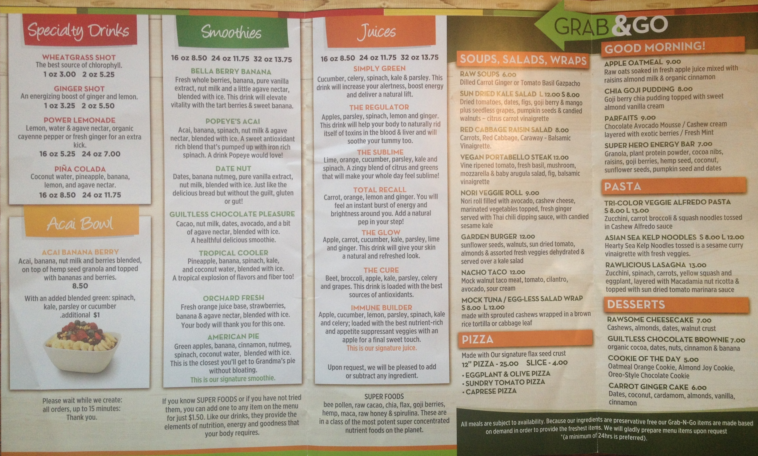 juiceateria menu