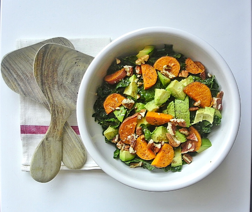 Kale Salad with Avocado and Sweet Potato